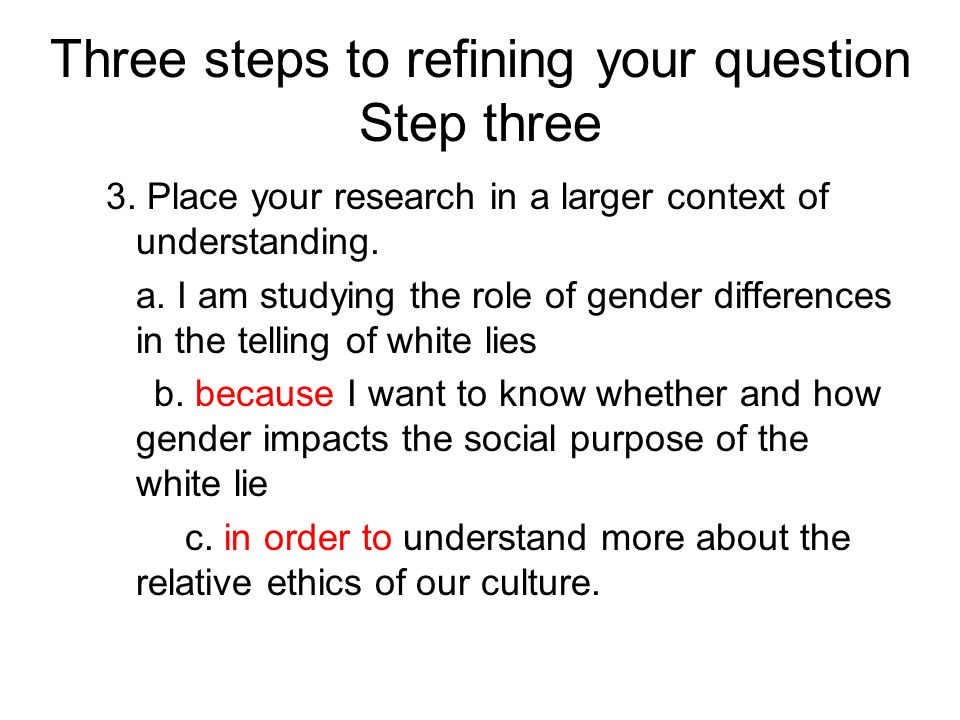Three steps to refining your question Step three 3.