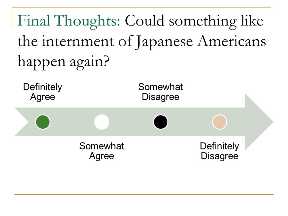 Final Thoughts: Could something like the internment of Japanese Americans happen again.