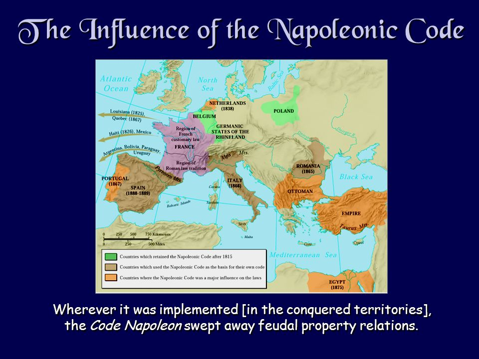 The Influence of the Napoleonic Code Wherever it was implemented [in the conquered territories], the Code Napoleon swept away feudal property relations.