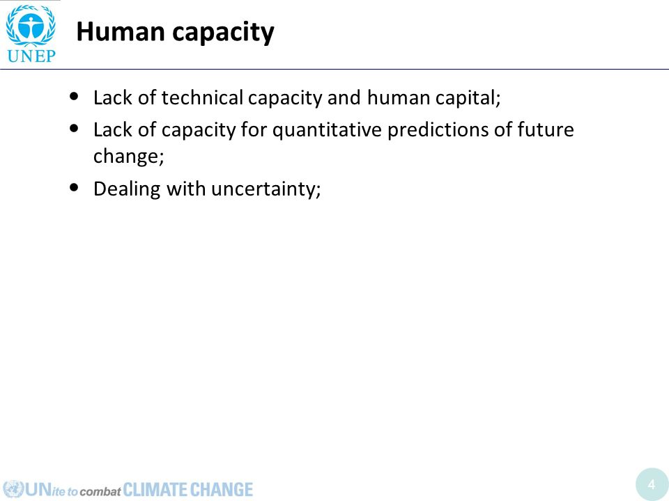 4 Human capacity Lack of technical capacity and human capital; Lack of capacity for quantitative predictions of future change; Dealing with uncertainty;