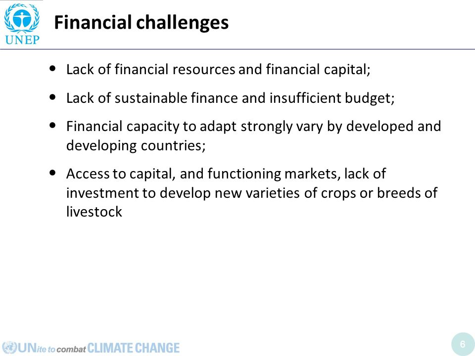 6 Financial challenges Lack of financial resources and financial capital; Lack of sustainable finance and insufficient budget; Financial capacity to adapt strongly vary by developed and developing countries; Access to capital, and functioning markets, lack of investment to develop new varieties of crops or breeds of livestock