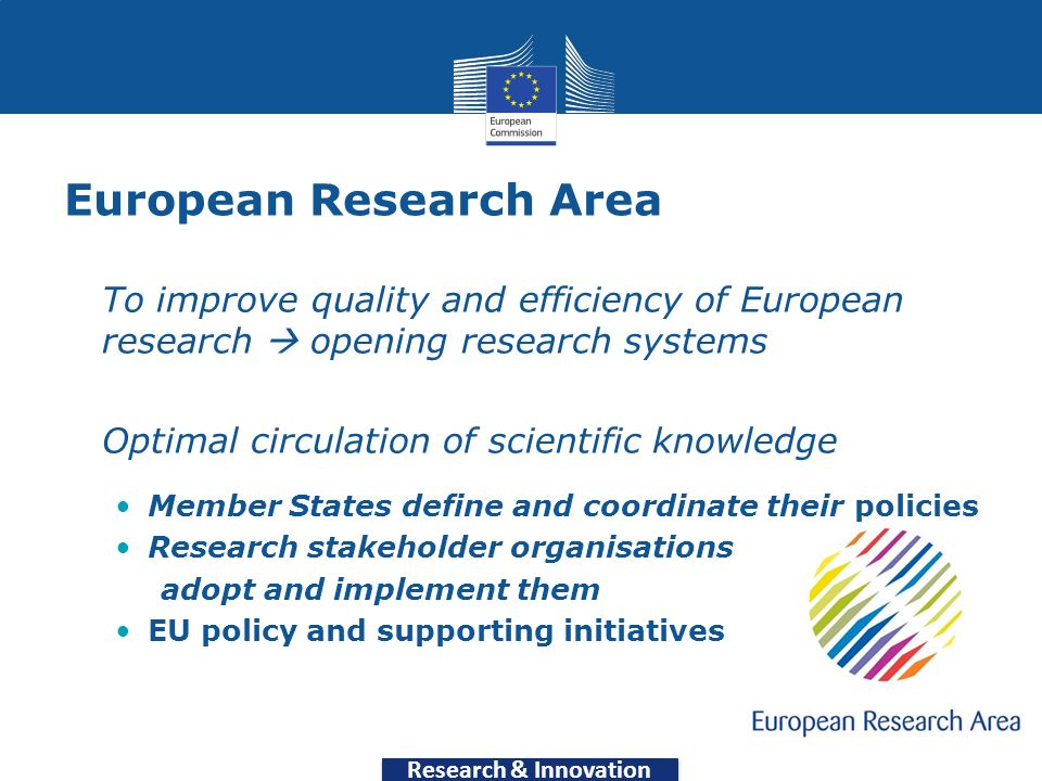 Research & Innovation European Research Area To improve quality and efficiency of European research opening research systems Optimal circulation of scientific knowledge Member States define and coordinate their policies Research stakeholder organisations adopt and implement them EU policy and supporting initiatives 6