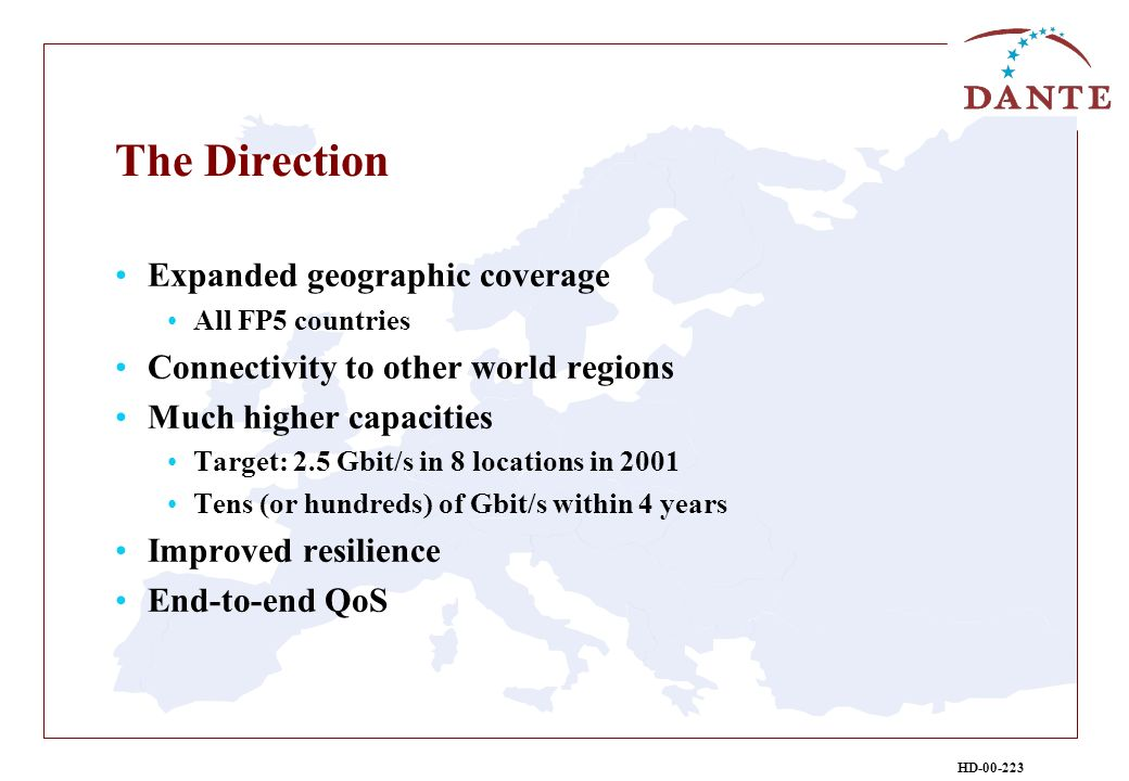 HD-00-223 The Direction Expanded geographic coverage All FP5 countries Connectivity to other world regions Much higher capacities Target: 2.5 Gbit/s in 8 locations in 2001 Tens (or hundreds) of Gbit/s within 4 years Improved resilience End-to-end QoS