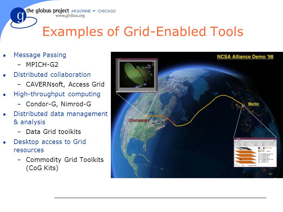 ARGONNE CHICAGO Examples of Grid-Enabled Tools l Message Passing –MPICH-G2 l Distributed collaboration –CAVERNsoft, Access Grid l High-throughput computing –Condor-G, Nimrod-G l Distributed data management & analysis –Data Grid toolkits l Desktop access to Grid resources –Commodity Grid Toolkits (CoG Kits)