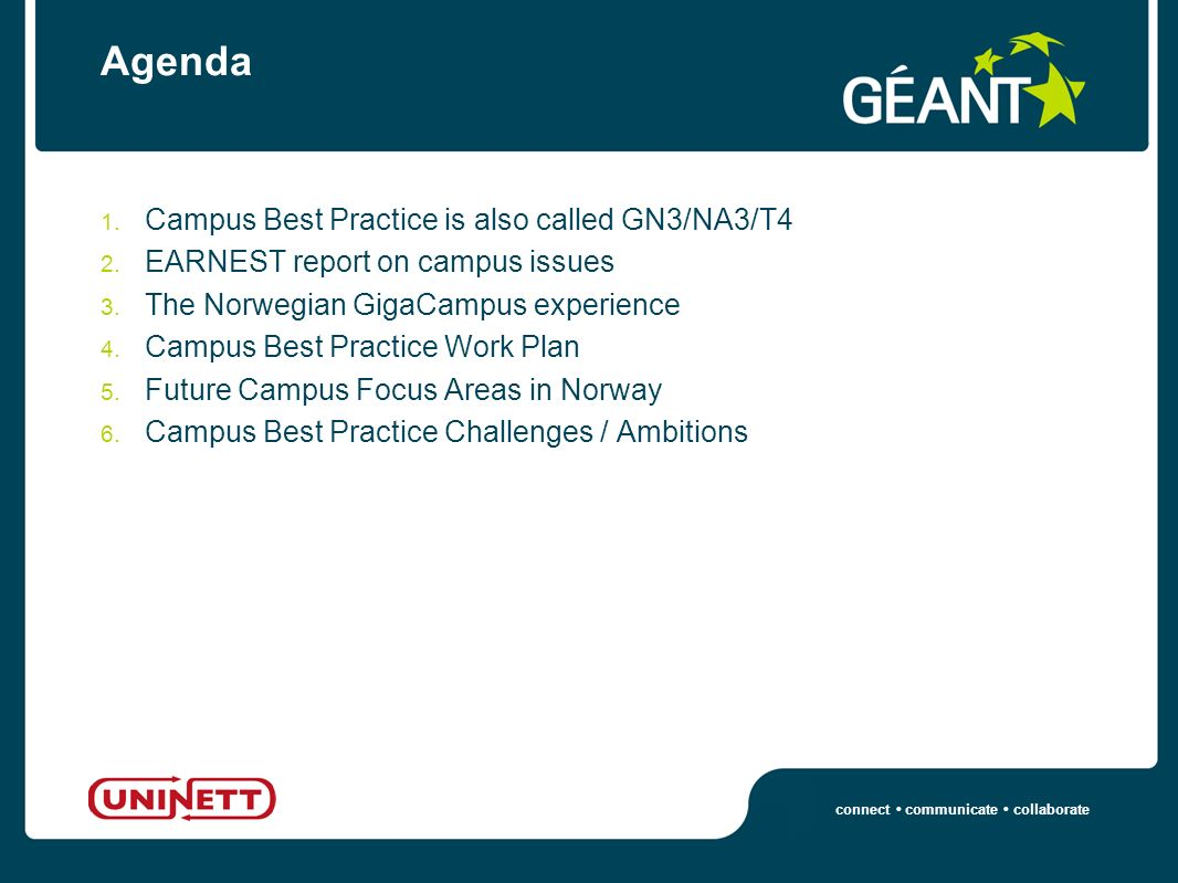 connect communicate collaborate Agenda 1. Campus Best Practice is also called GN3/NA3/T4 2.