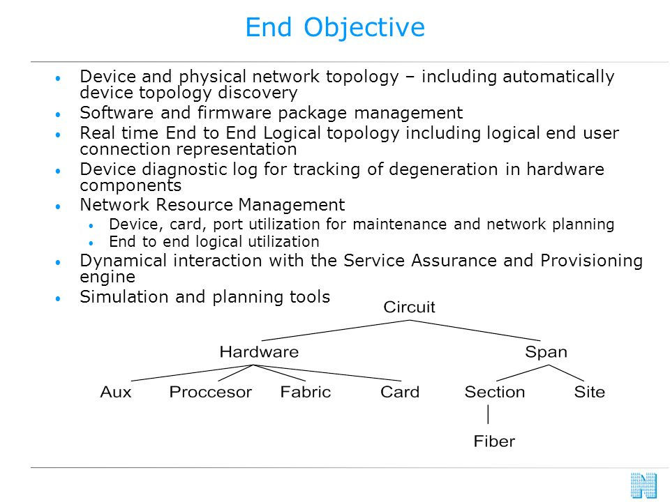 End Objective Device and physical network topology – including automatically device topology discovery Software and firmware package management Real time End to End Logical topology including logical end user connection representation Device diagnostic log for tracking of degeneration in hardware components Network Resource Management Device, card, port utilization for maintenance and network planning End to end logical utilization Dynamical interaction with the Service Assurance and Provisioning engine Simulation and planning tools