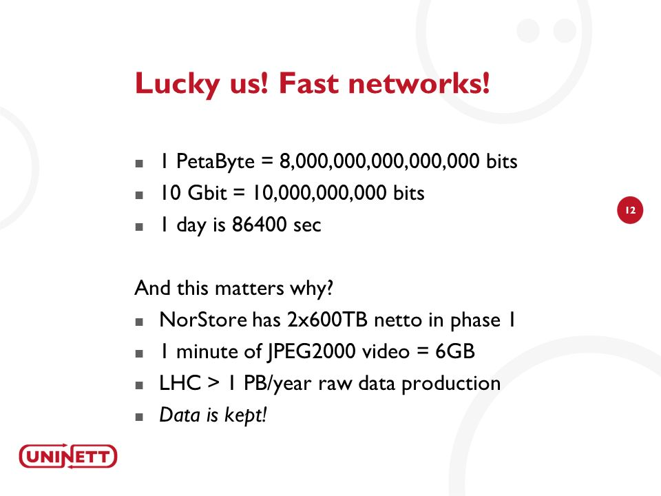 12 Lucky us. Fast networks.