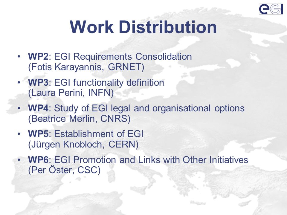 Work Distribution WP2: EGI Requirements Consolidation (Fotis Karayannis, GRNET) WP3: EGI functionality definition (Laura Perini, INFN) WP4: Study of EGI legal and organisational options (Beatrice Merlin, CNRS) WP5: Establishment of EGI (Jürgen Knobloch, CERN) WP6: EGI Promotion and Links with Other Initiatives (Per Öster, CSC)