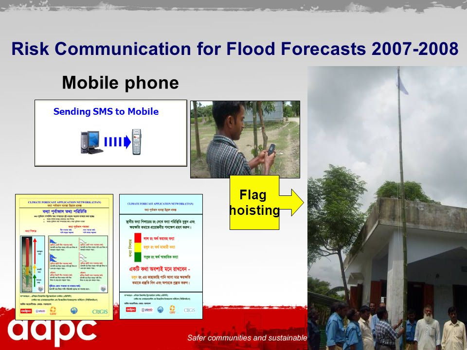 54 Sending SMS to Mobile Risk Communication for Flood Forecasts 2007-2008 Mobile phone Flag hoisting