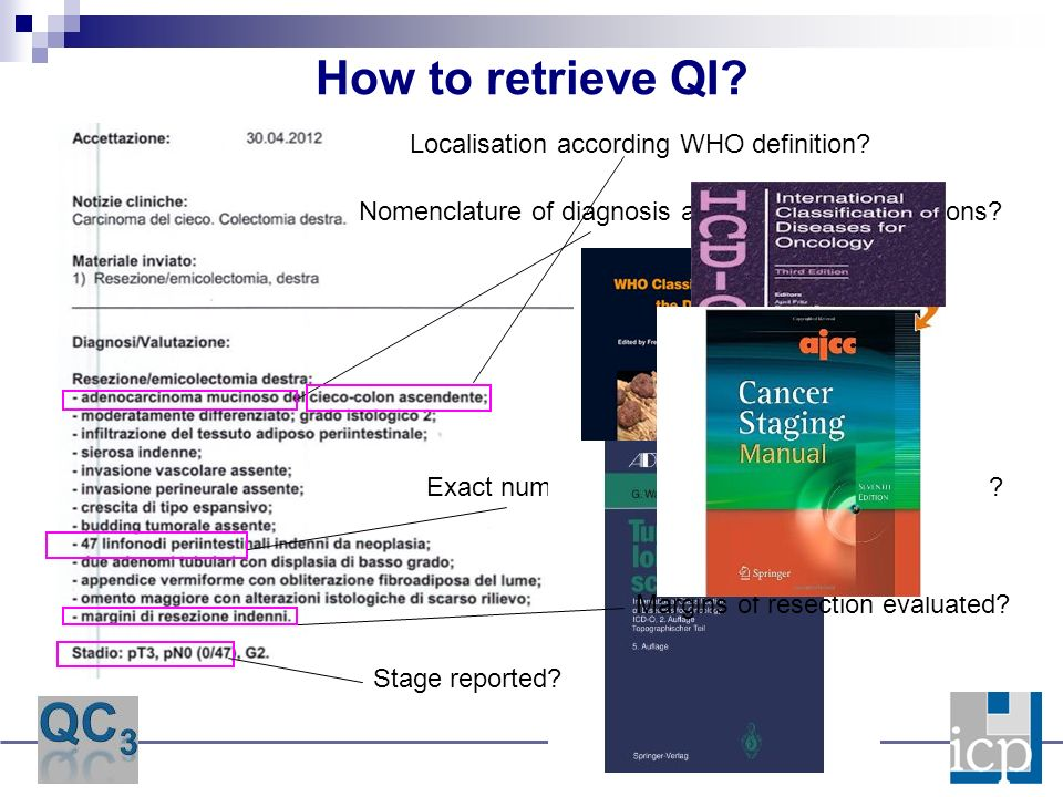 How to retrieve QI. Exact number of analysed lymphnodes reported.