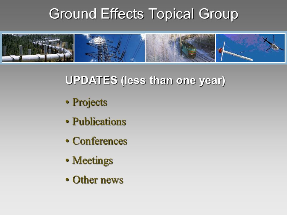 Ground Effects Topical Group UPDATES (less than one year) ProjectsProjects PublicationsPublications ConferencesConferences MeetingsMeetings Other newsOther news