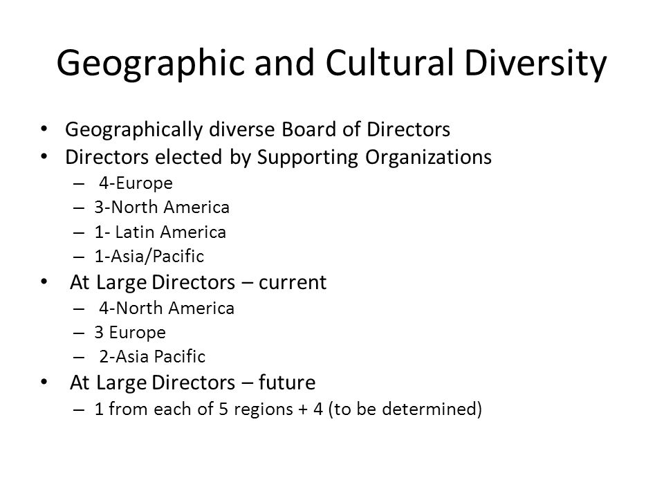 Geographic and Cultural Diversity Geographically diverse Board of Directors Directors elected by Supporting Organizations – 4-Europe – 3-North America – 1- Latin America – 1-Asia/Pacific At Large Directors – current – 4-North America – 3 Europe – 2-Asia Pacific At Large Directors – future – 1 from each of 5 regions + 4 (to be determined)