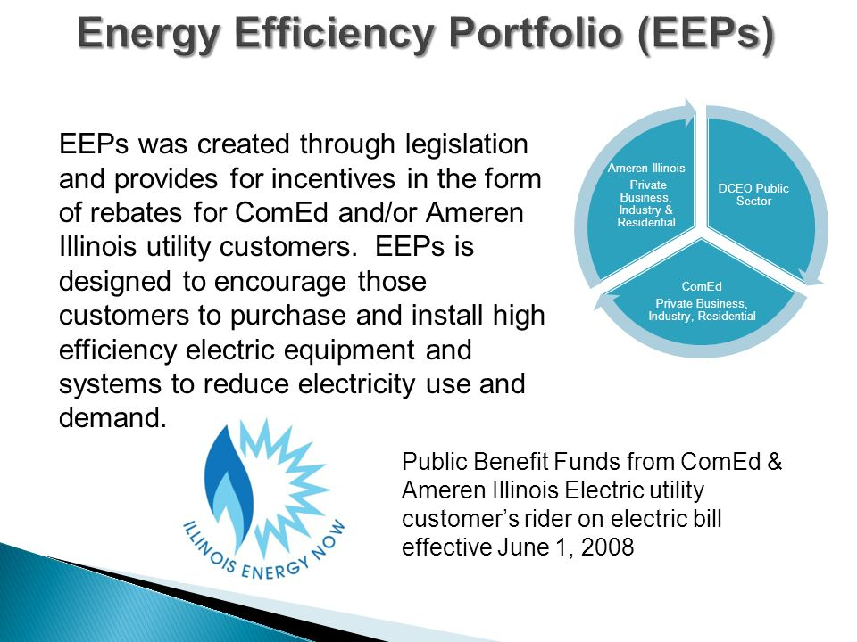 Energy Efficiency Portfolio (EEPs) EEPs was created through legislation and provides for incentives in the form of rebates for ComEd and/or Ameren Illinois utility customers.