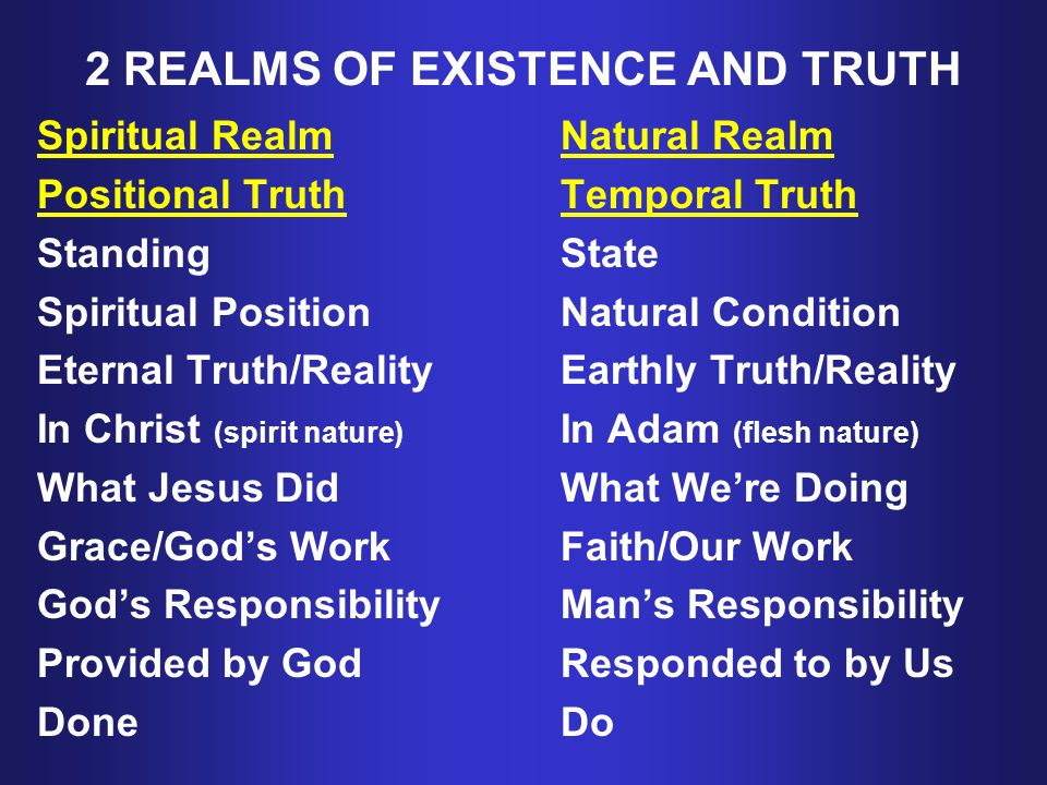 2 REALMS OF EXISTENCE AND TRUTH Spiritual RealmNatural Realm Positional TruthTemporal Truth StandingState Spiritual PositionNatural Condition Eternal Truth/RealityEarthly Truth/Reality In Christ (spirit nature) In Adam (flesh nature) What Jesus DidWhat Were Doing Grace/Gods Work Faith/Our Work Gods ResponsibilityMans Responsibility Provided by GodResponded to by Us DoneDo