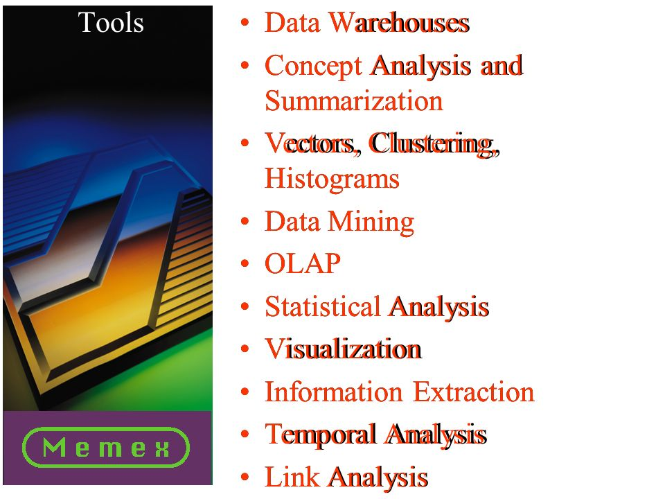 Data Warehouses Concept Analysis and Summarization Vectors, Clustering, Histograms Data Mining OLAP Statistical Analysis Visualization Information Extraction Temporal Analysis Link Analysis Data Warehouses Concept Analysis and Summarization Vectors, Clustering, Histograms Data Mining OLAP Statistical Analysis Visualization Information Extraction Temporal Analysis Link Analysis Tools