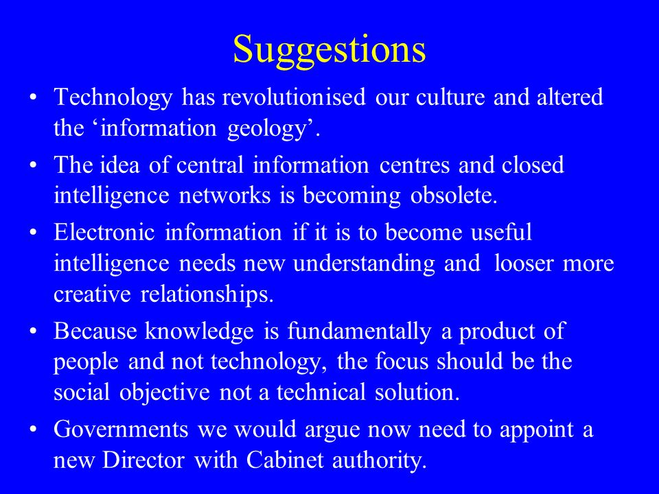 Suggestions Technology has revolutionised our culture and altered the information geology.