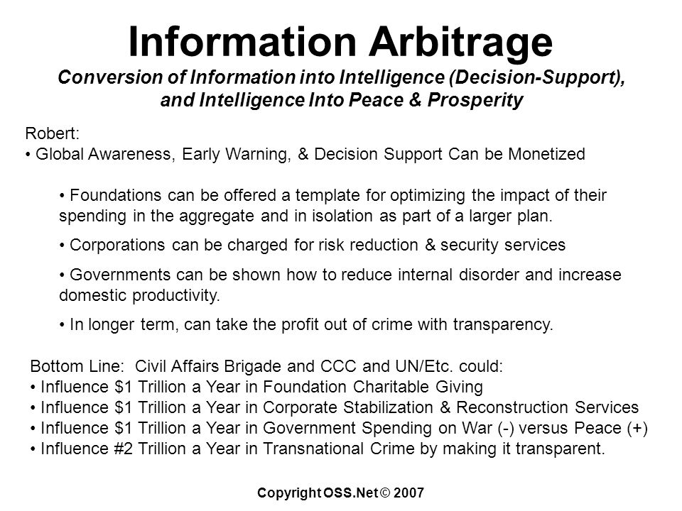 Copyright OSS.Net © 2007 Information Arbitrage Conversion of Information into Intelligence (Decision-Support), and Intelligence Into Peace & Prosperity Robert: Global Awareness, Early Warning, & Decision Support Can be Monetized Foundations can be offered a template for optimizing the impact of their spending in the aggregate and in isolation as part of a larger plan.