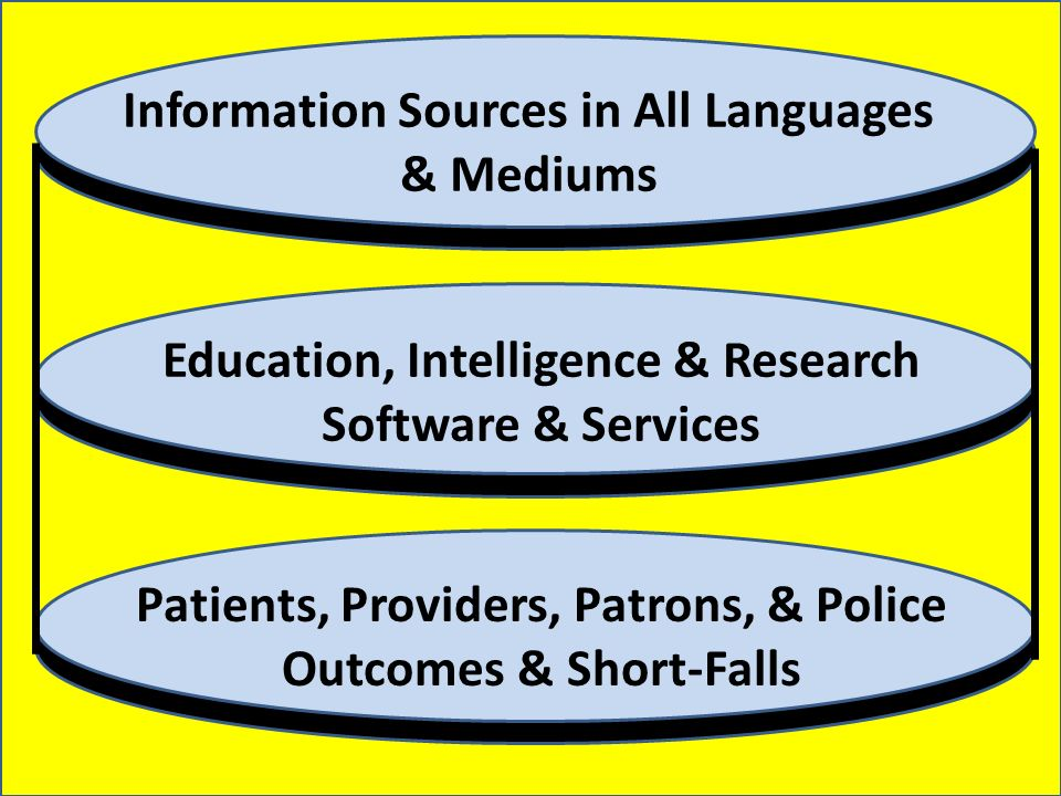 Information Sources in All Languages & Mediums Education, Intelligence & Research Software & Services Patients, Providers, Patrons, & Police Outcomes & Short-Falls