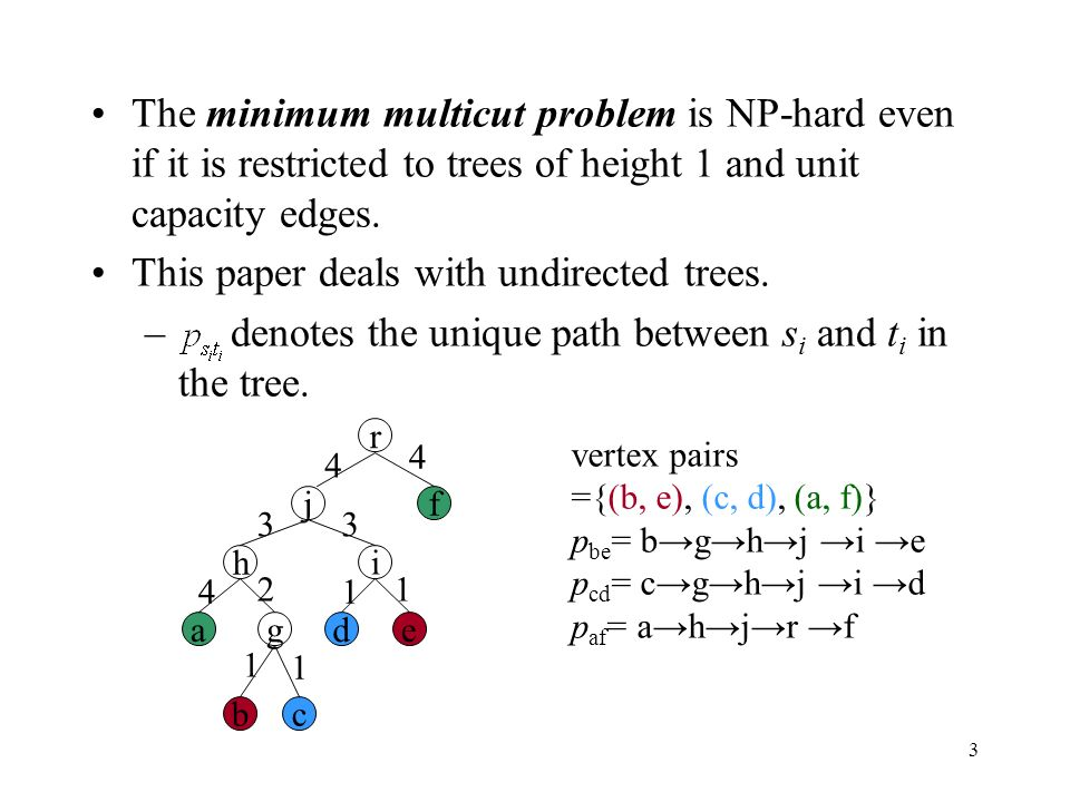 3 The minimum multicut problem is NP-hard even if it is restricted to trees of height 1 and unit capacity edges.