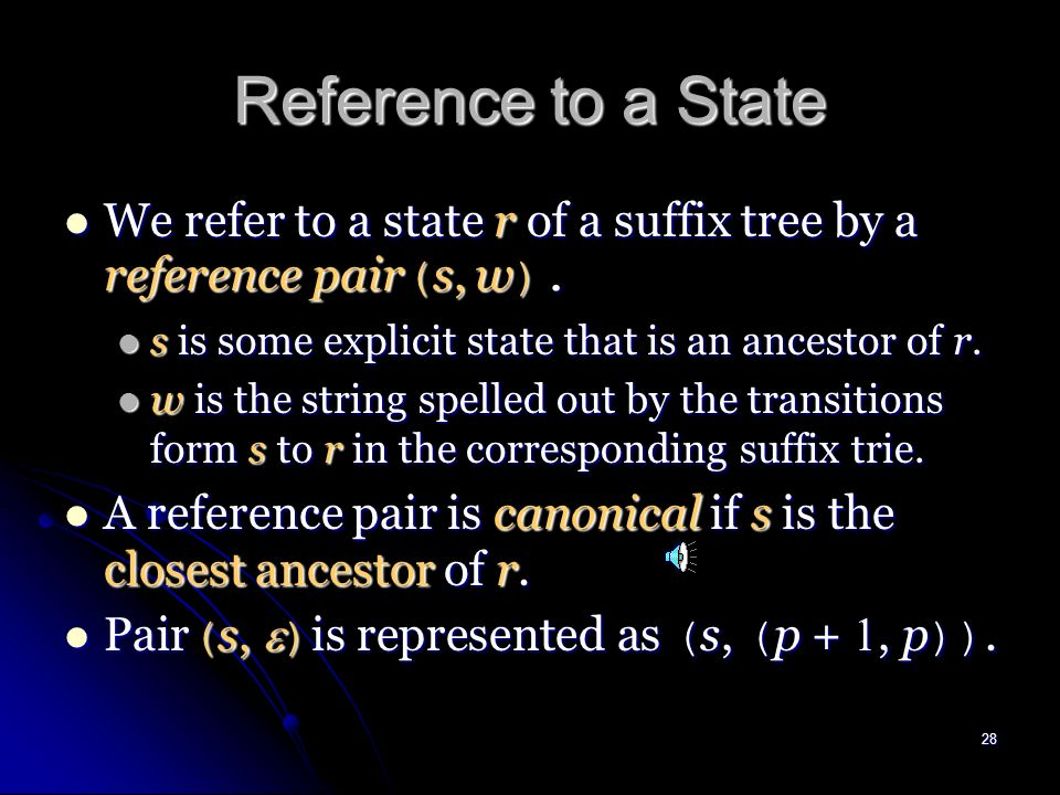 27 Size of Suffix Trees (cont.) The size of STree ( T ) is linear size in |T|.