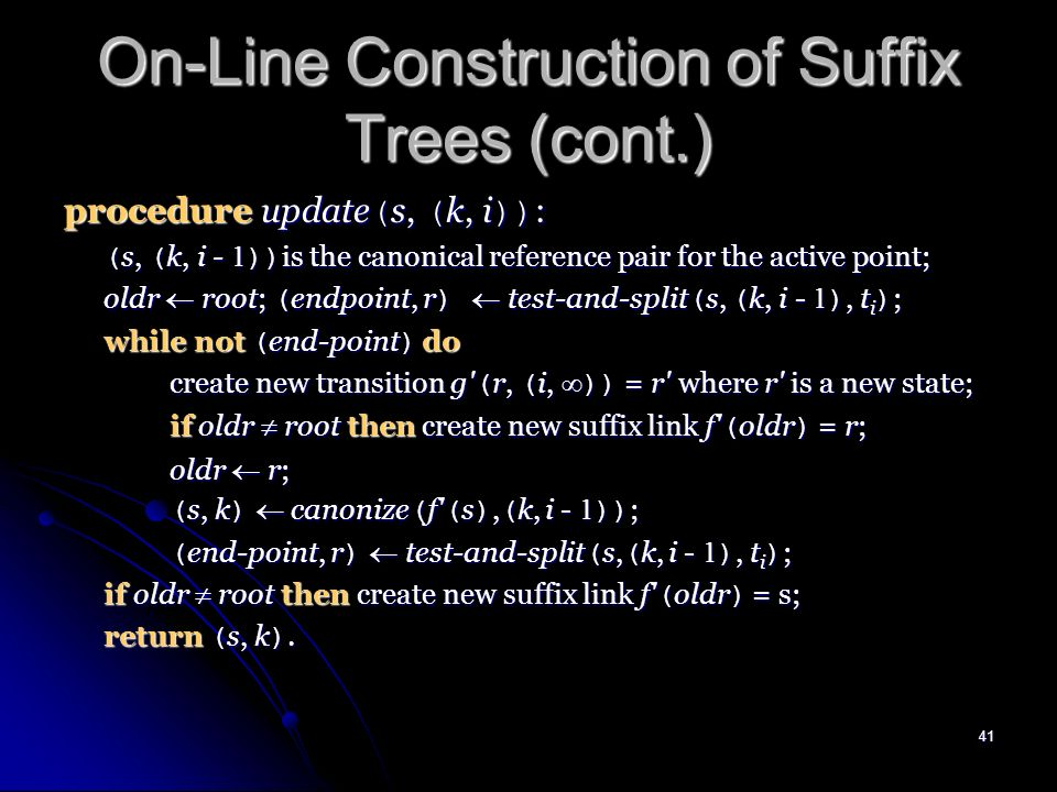 40 On-Line Construction of Suffix Trees Algorithm 2 Construction of STree ( T ) for string T = t 1 t 2...# in alphabet = { t - 1,..., t -m } ; # is the end marker.