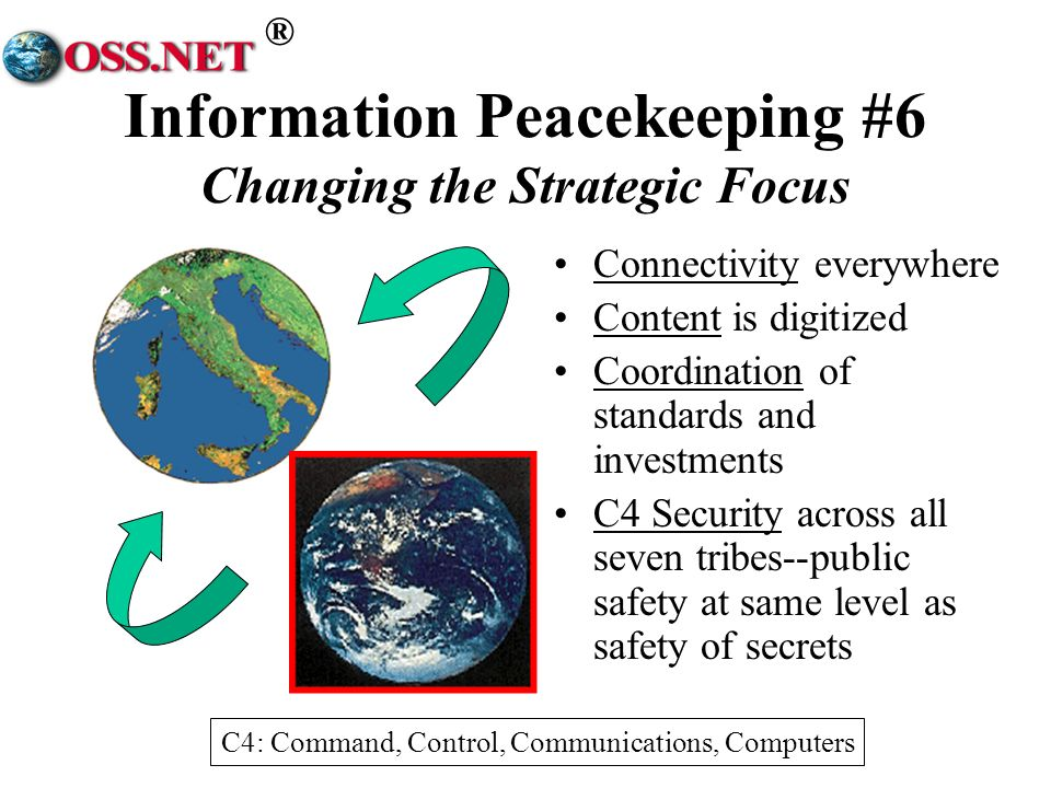 ® Information Peacekeeping #6 Changing the Strategic Focus Connectivity everywhere Content is digitized Coordination of standards and investments C4 Security across all seven tribes--public safety at same level as safety of secrets C4: Command, Control, Communications, Computers