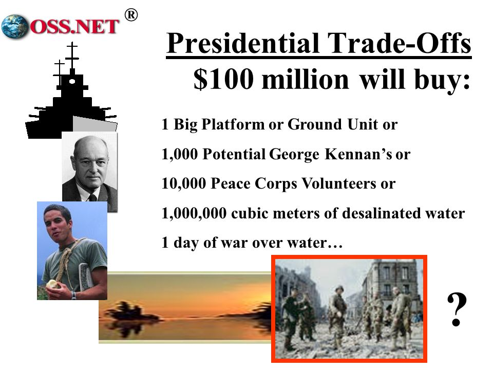 ® Presidential Trade-Offs $100 million will buy: 1 Big Platform or Ground Unit or 1,000 Potential George Kennans or 10,000 Peace Corps Volunteers or 1,000,000 cubic meters of desalinated water 1 day of war over water…