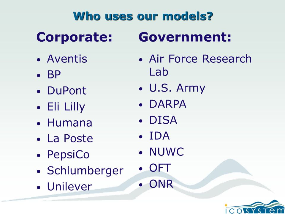 Who uses our models.