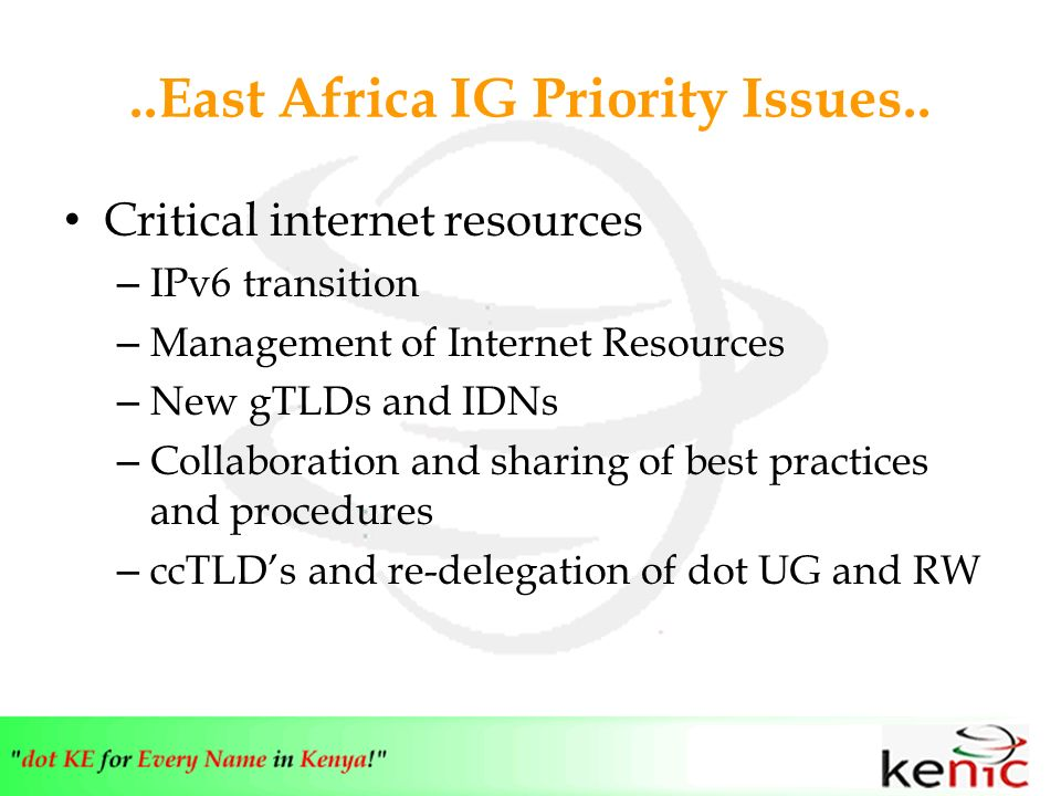 ..East Africa IG Priority Issues..