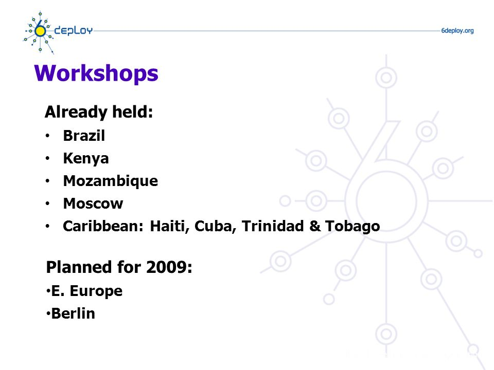 Workshops Already held: Brazil Kenya Mozambique Moscow Caribbean: Haiti, Cuba, Trinidad & Tobago Planned for 2009: E.