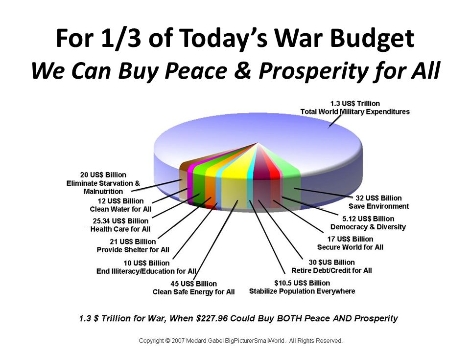 For 1/3 of Todays War Budget We Can Buy Peace & Prosperity for All