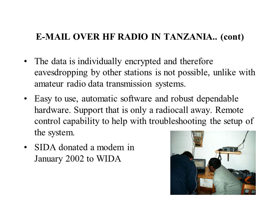 E-MAIL OVER HF RADIO IN TANZANIA..