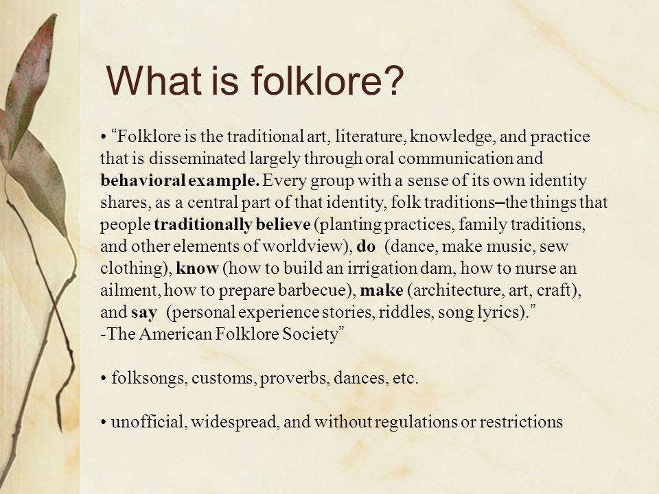 What is folklore.
