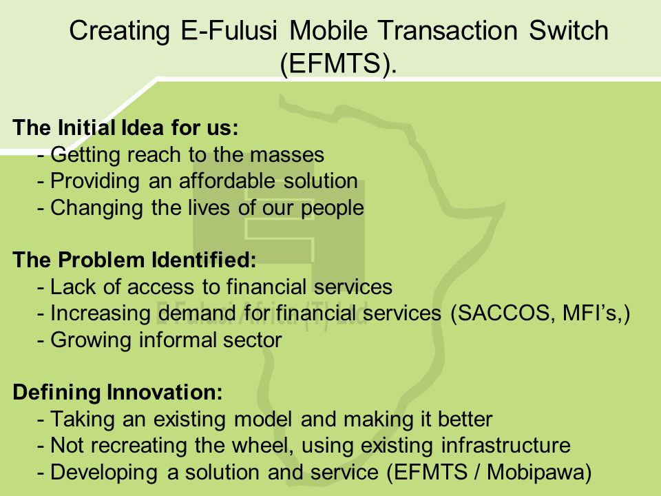 Creating E-Fulusi Mobile Transaction Switch (EFMTS).