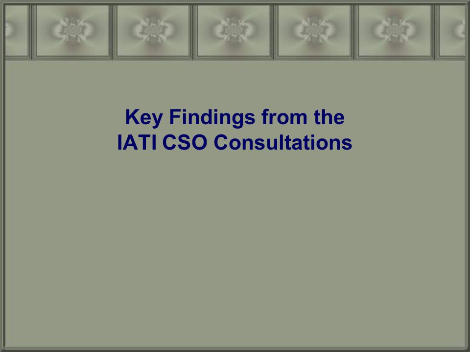 Key Findings from the IATI CSO Consultations