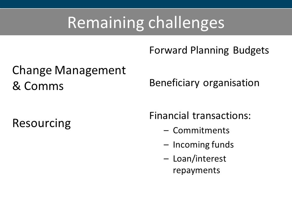 Remaining challenges Forward Planning Budgets Beneficiary organisation Financial transactions: –Commitments –Incoming funds –Loan/interest repayments Change Management & Comms Resourcing