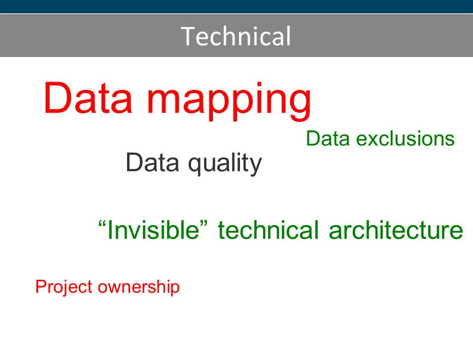 Technical Data mapping Data exclusions Invisible technical architecture Data quality Project ownership