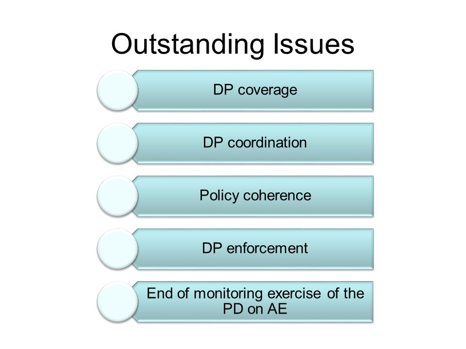 Outstanding Issues DP coverage DP coordination Policy coherence DP enforcement End of monitoring exercise of the PD on AE