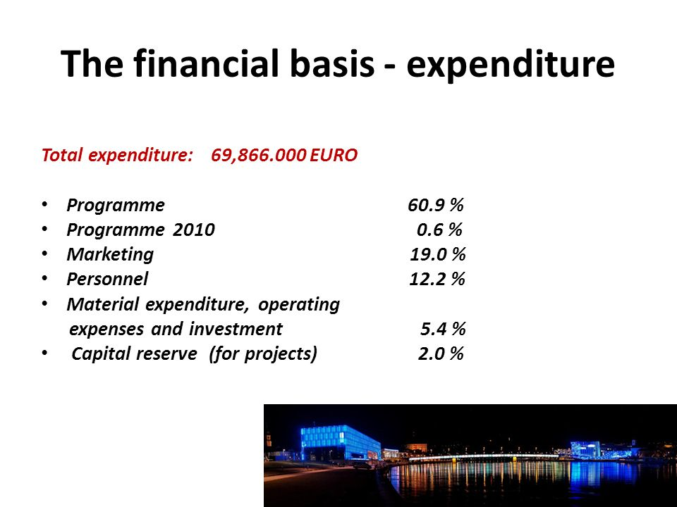 The financial basis - expenditure Total expenditure: 69,866.000 EURO Programme 60.9 % Programme 2010 0.6 % Marketing 19.0 % Personnel 12.2 % Material expenditure, operating expenses and investment 5.4 % Capital reserve (for projects) 2.0 %