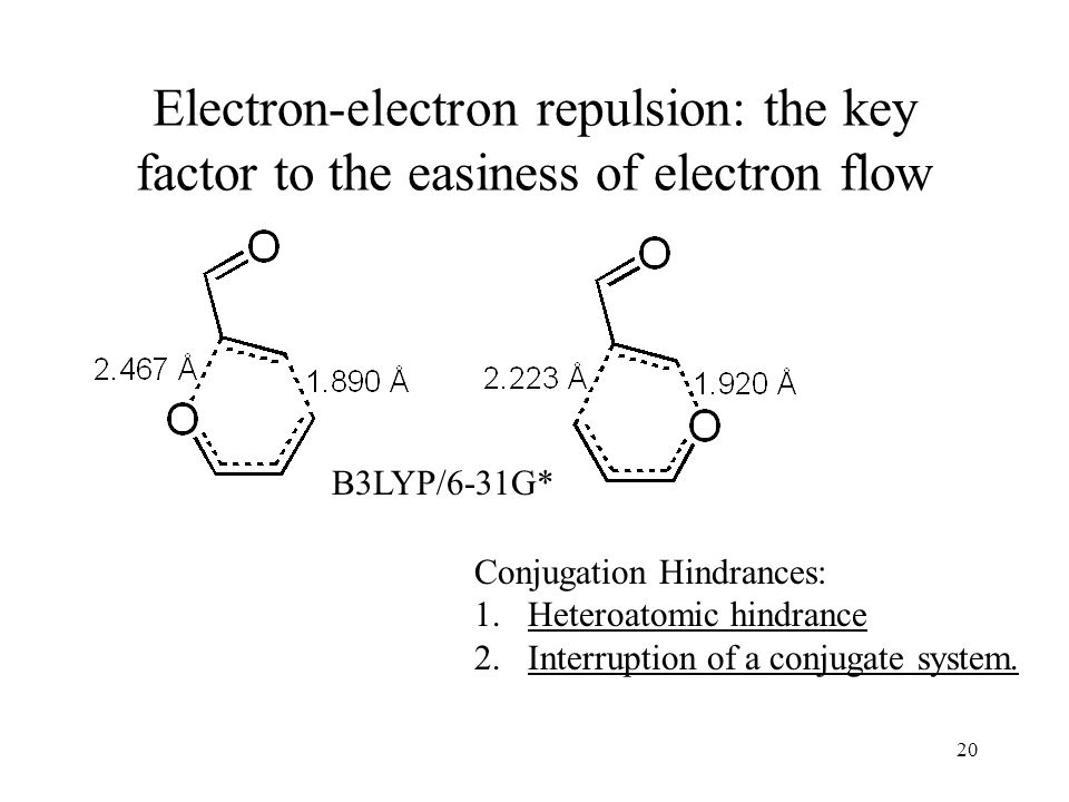 20 Electron-electron repulsion: the key factor to the easiness of electron flow Conjugation Hindrances: 1.Heteroatomic hindrance 2.Interruption of a conjugate system.
