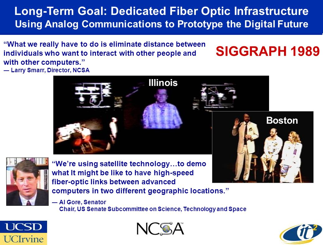 Long-Term Goal: Dedicated Fiber Optic Infrastructure Using Analog Communications to Prototype the Digital Future Were using satellite technology…to demo what It might be like to have high-speed fiber-optic links between advanced computers in two different geographic locations.