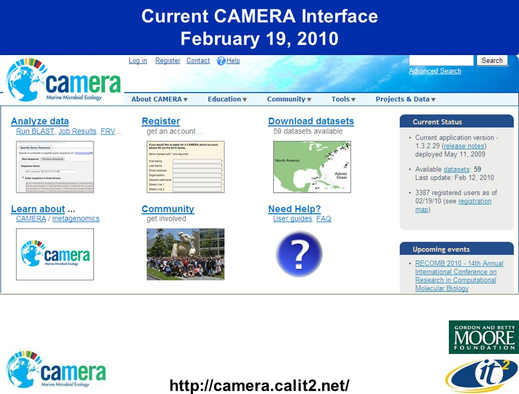 Current CAMERA Interface February 19, 2010 http://camera.calit2.net/