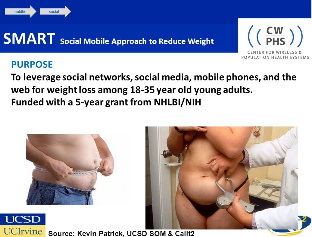 SMART Social Mobile Approach to Reduce Weight mobilesocial PURPOSE To leverage social networks, social media, mobile phones, and the web for weight loss among 18-35 year old young adults.