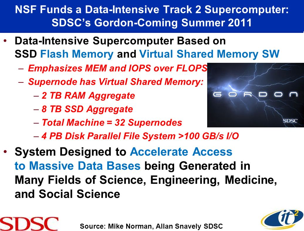 NSF Funds a Data-Intensive Track 2 Supercomputer: SDSCs Gordon-Coming Summer 2011 Data-Intensive Supercomputer Based on SSD Flash Memory and Virtual Shared Memory SW –Emphasizes MEM and IOPS over FLOPS –Supernode has Virtual Shared Memory: –2 TB RAM Aggregate –8 TB SSD Aggregate –Total Machine = 32 Supernodes –4 PB Disk Parallel File System >100 GB/s I/O System Designed to Accelerate Access to Massive Data Bases being Generated in Many Fields of Science, Engineering, Medicine, and Social Science Source: Mike Norman, Allan Snavely SDSC