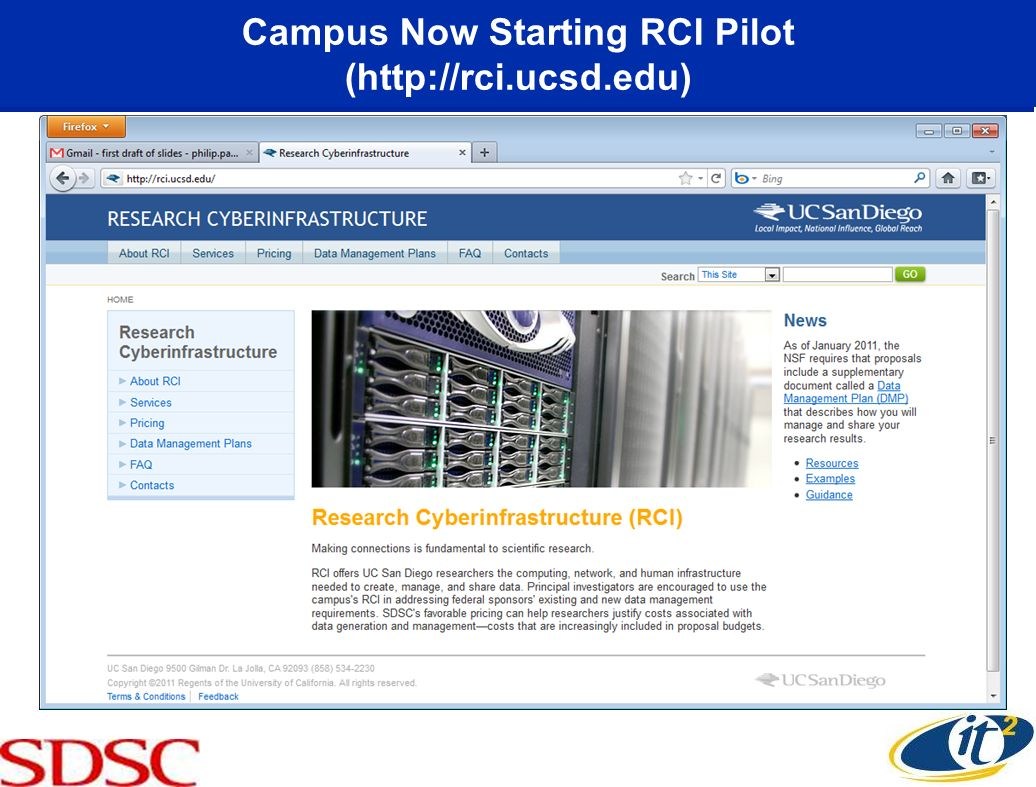 Campus Now Starting RCI Pilot (http://rci.ucsd.edu)