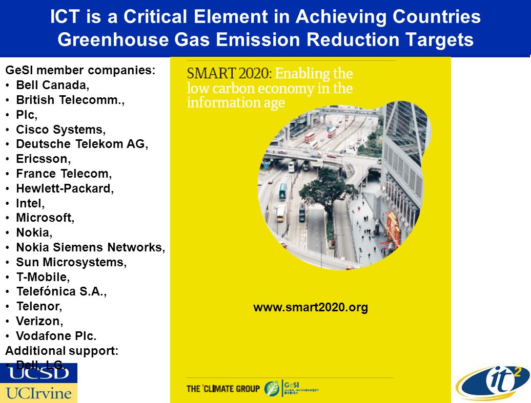ICT is a Critical Element in Achieving Countries Greenhouse Gas Emission Reduction Targets www.smart2020.org GeSI member companies: Bell Canada, British Telecomm., Plc, Cisco Systems, Deutsche Telekom AG, Ericsson, France Telecom, Hewlett-Packard, Intel, Microsoft, Nokia, Nokia Siemens Networks, Sun Microsystems, T-Mobile, Telefónica S.A., Telenor, Verizon, Vodafone Plc.