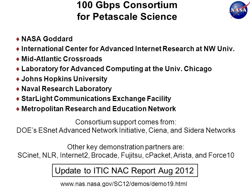 100 Gbps Consortium for Petascale Science NASA Goddard International Center for Advanced Internet Research at NW Univ.