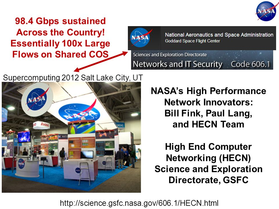 Supercomputing 2012 Salt Lake City, UT 98.4 Gbps sustained Across the Country.