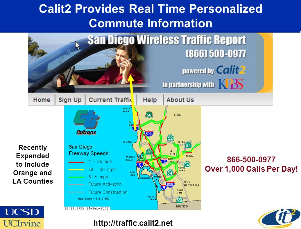 Calit2 Provides Real Time Personalized Commute Information http://traffic.calit2.net 866-500-0977 Over 1,000 Calls Per Day.