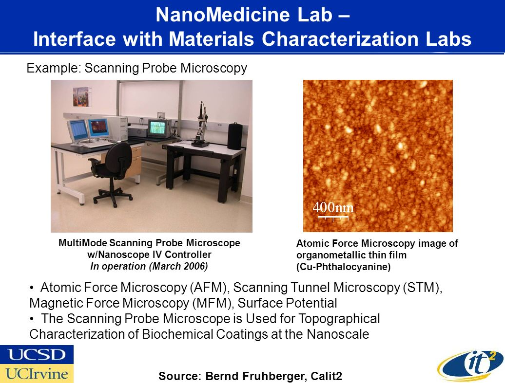 Nano3 Facility CALIT2.UCSD NanoMedicine Lab – Interface with Materials Characterization Labs MultiMode Scanning Probe Microscope w/Nanoscope IV Controller In operation (March 2006) Example: Scanning Probe Microscopy Atomic Force Microscopy image of organometallic thin film (Cu-Phthalocyanine) Atomic Force Microscopy (AFM), Scanning Tunnel Microscopy (STM), Magnetic Force Microscopy (MFM), Surface Potential The Scanning Probe Microscope is Used for Topographical Characterization of Biochemical Coatings at the Nanoscale Source: Bernd Fruhberger, Calit2